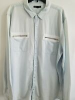 INC International Concepts Mens 3XL Blue Long Sleeve Pockets Button Down Shirt