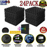 24 Pack Soundproofing Foam Acoustic Studio Tiles Wedge Panels Pack Wall Sound US