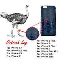 Genuine Ostrich Leg Leather Case Cover For iPhone 10 X R 8 7 6 5 S Plus Max New