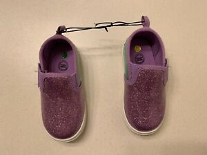 Wonder Nation Girls Toddlers Shoes Size 3 Purple & Green Slip-Ons