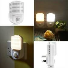 White Plug In PIR Motion Sensor Hallway Socket White LED Night Light Safety UK