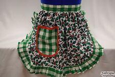 Delantal de estilo vintage y retro 50s Estilo Media/Musgo-Navidad Acebo con ribete verde