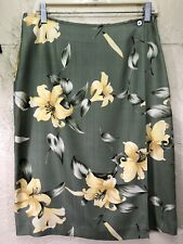 d9dd4029cf14 Tommy Bahama Womens Size 12 Skirt Wrap Around 100% Silk Hibiscus Yellow  Green