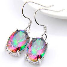 Multi Color Natural Rainbow Fire Topaz Gemstone Woman Dangle Hook Earrings