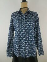J Crew Women Shirt Small Navy Blue Elephant Print Cotton Button Down Long Sleeve
