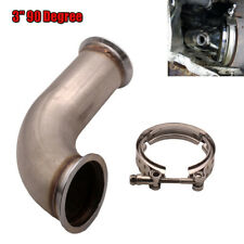 "3"" Inlet 90 Degree Universal Downpipe V-Band w/clamp Pipe Short Leg 3.75"" outlet"