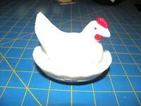 Vintage westmoreland white milk glass hen chicken rooster on nest