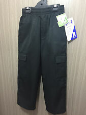 BNWT Boys Sz 12 LWR Brand Black Elastic Waist Cargo Side Pocket School Pants