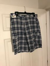NWT Basic Editions Blue Plaid Shorts Size 30
