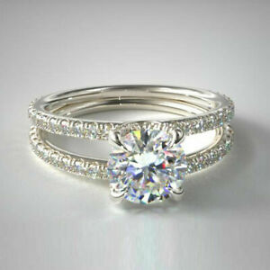 1.50ct Round Cut Diamond Solitaire W/Accents Engagement Ring 14K White Gold Over
