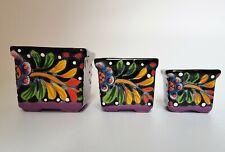 Mexican Hand Made Glazed Square Flower Pot Folk Art Set of 3 Decorative Planter