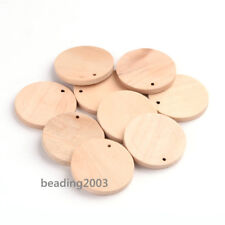 10pcs Flat Round Wood Blank Stapmping Tag Pendants Charms Jewelry Beads 34.5mm