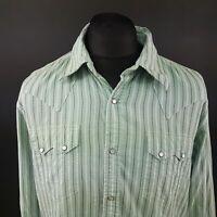 Ralph Lauren Mens Vintage Western Shirt Pearl Snap XL Long Sleeve Blue Regular