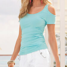 Womens Off The Shoulder Slim Shirts Casual Ladies Short Sleeve Summer Top Blouse