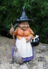 Folk Art WITCH Figurine w/Black Pot*Broom*Bat Hat*Primitive Halloween Decor*New!