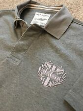 GORGEOUS RACING GREEN CRESTED GREY SHORT SLEEVE RUGBY SHIRT M MEDIUM