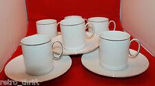 Thomas Germany White Platinum Silver Band Rim Coffee Tea 6 Mug Cup 5 Saucer Set