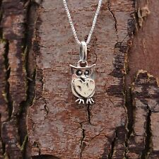 Sterling Silver 925 Quirky Owl Pendant & Chain Necklace Pure Origins Sea Gems