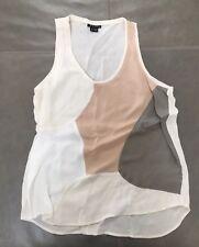 6e9d64b971fd03 Theory Isaac M Womens 100% Silk Color Block Tank Top Creme Small  175