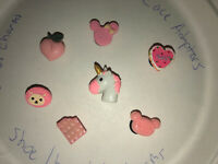 3D Pink Lot Of 7 Crocs, Bracelet Charms,Jibbitz, Unicorn,hedgehog, Cake & More