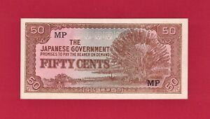 MALAYA NETHERLANDS INDIES UNC Japanese Occup 50 Cents 1942 (Pick-M4b) Block: MP