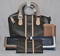 GUESS Tambako Satchel Bag Purse Handbag Sac Wallet Set New Logo Blue Black Brown