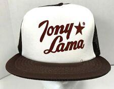 Vintage TONY LAMA Boots Trucker Hat 80's Brown & White Mesh Snapback Cap EUC!