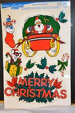 1989 Original KLINGERS Window Decoration peel off on Merry Christmas SANTA
