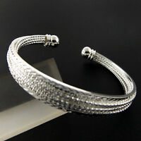 A882 GENUINE REAL 925 STERLING SILVER S/F SOLID BEAD DESIGN CUFF BANGLE BRACELET