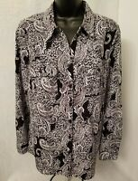 Notations Womens Black White Paisley Design Button Down Shirt Top Blouse Size M