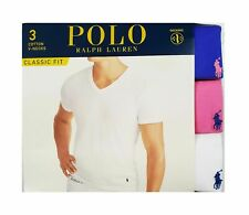Polo Ralph Lauren Men's Blue-Pink-White Classic Fit V-Neck Wicking Shirt 3 Pack