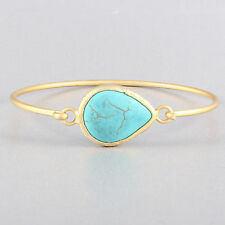 Turkish Handmade Blue Turquoise Stone Brass Metal Cuff Fashion Bracelet 7""
