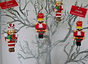 ASSORTED CLAY DOUGH 10cm NUTCRACKER CHARACTER CHRISTMAS TREE DECORATION x 4