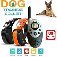 1100 Yards Pet Dog Shock Training Collar Remote Waterproof Electric For 1/2 Dog
