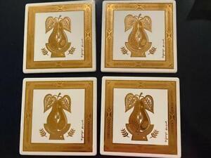 Georges Briard Enamel Metal MCM Set 4 Tile Gold Pear NOS Signed Trivet Wall