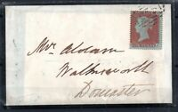 GB QV 1855 1d Red Star Mourning Cover & Letter to Doncaster WS18524