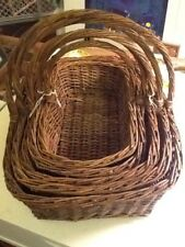 Lovable Set Of 5 Brown Woven Nesting Baskets With Handle For Storage And Display