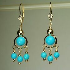14k solid yell. gold natural 6mm, 4mm blue Turquoise earrings leverback 5.20 tcw