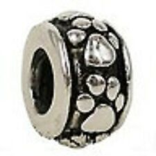 SILVER PLATED CAT/ DOG PAW PRINT #1 SPACER BEAD CHARM ** C MY STORE 4 BRACELETS