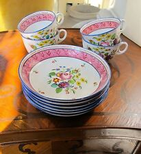 19th C European, Hand Painted, Translucent, 4 Bone China Cups and 6 Saucer