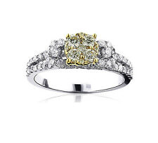 Anillo De Diamantes Oro blanco 585 AAA amarillo sin tratar y Brillantes 1,24 ct