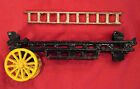 """Cast Iron Horse Drawn Fire Fighter Truck PARTS VTG 9"""" Wagon and 7"""" Ladder ONLY"""