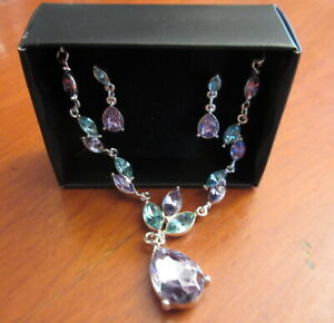 """AVON Beautiful """"Violet Dazzle Necklace & Earring Giftset"""" - NEW in Box"""