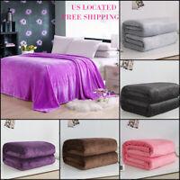 Super Soft Warm Plain Warm Micro Plush Fleece Blanket Throw Sofa Bedding  US