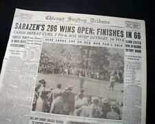 GENE SARAZEN Wins U.S. Open Major Title GOLF Championship 1932 Old Newspaper
