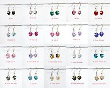 Genuine Swarovski Elements Crystal Heart Dangle Earrings with 925 hook