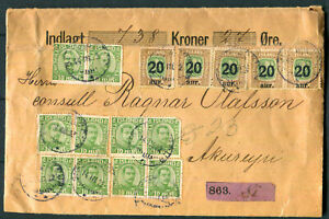 Iceland Registered 1922 Money Letter Reykiavik? ~ Akureyri Sc 116x10 133x5 Local