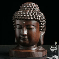 Hand Carved  Redwood Crafts Sakyamuni Head Buddha Statue Tathagata Sculpture