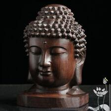 Hand Carved Redwood Crafts Sakyamuni Head Buddha Statue Tathagata Sculpture