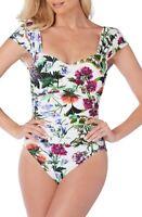 Magicsuit 166976 Womens Natalie Floral One-Piece Swimsuit White/Multi Size 14